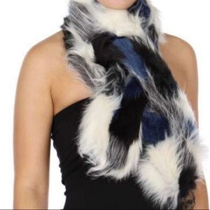 Fabulous Multi Color Black &Blue Faux Fur Scarf